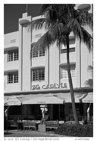 Carlyle Hotel, South Beach district, Miami Beach. Florida, USA (black and white)