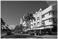 Beachfront street and hotels, South beach, Miami Beach. Florida, USA ( black and white)
