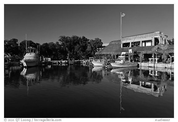 Marina, Vaca Key. The Keys, Florida, USA (black and white)