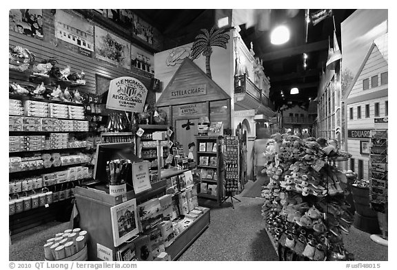 Souvenir shop, Mallory Square. Key West, Florida, USA (black and white)