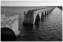 Abandonned Bridge, Sugarloaf Key. The Keys, Florida, USA (black and white)