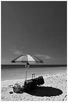 Beach unbrella, blue sky and water, Bahia Honda State Park. The Keys, Florida, USA (black and white)