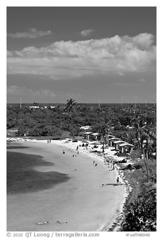 Bahia Honday Key seen above. The Keys, Florida, USA (black and white)