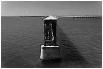 Abandonned bridge, Bahia Honda Channel. The Keys, Florida, USA (black and white)