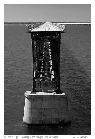 Old bridge in Bahia Honda Channel. The Keys, Florida, USA (black and white)