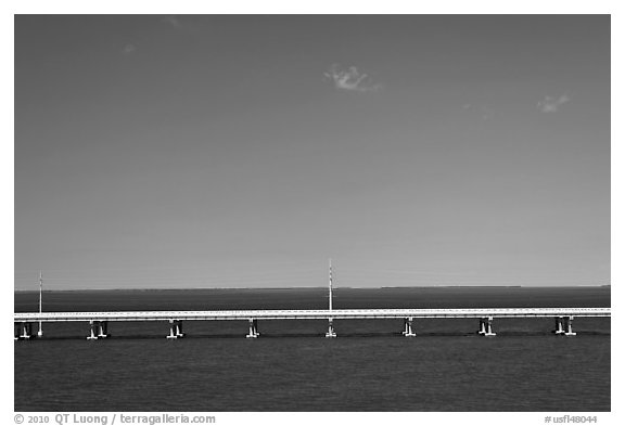Highway bridge between Bahia Honda and Summerland Keys. The Keys, Florida, USA (black and white)