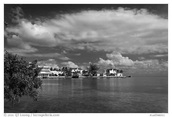 Colorful conch cottages, Conch Key. The Keys, Florida, USA (black and white)
