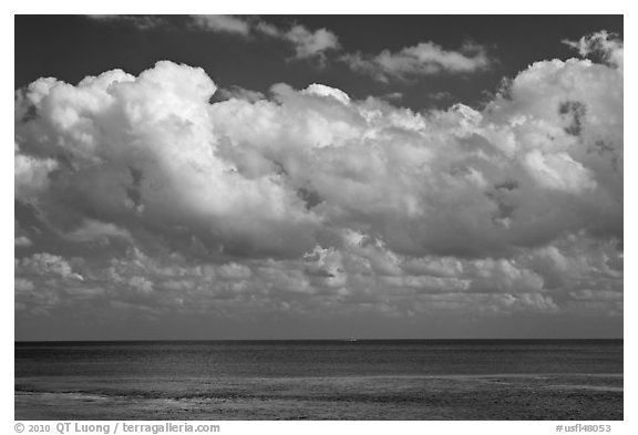 Clouds floating above Atlantic Ocean, Matacumbe Key. The Keys, Florida, USA (black and white)