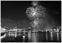 Fireworks over Davis Island, Tampa. Florida, USA (black and white)