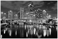 Night skyline, Tampa. Florida, USA (black and white)