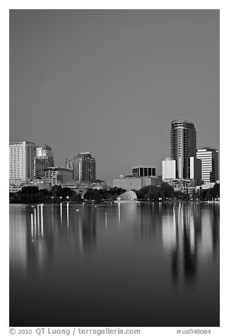Night skyline. Orlando, Florida, USA (black and white)