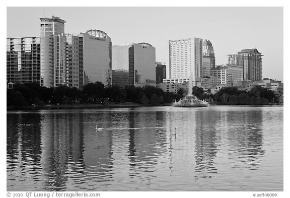 High rise buildings and fountain, lake Eola. Orlando, Florida, USA (black and white)