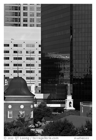 Church and downtown high rise buildings. Orlando, Florida, USA (black and white)