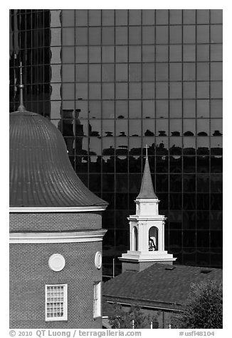 White steepled Church and glass building. Orlando, Florida, USA (black and white)