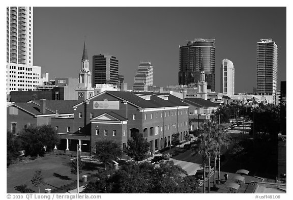 Downtown street from above. Orlando, Florida, USA (black and white)