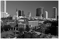Downtown street from above. Orlando, Florida, USA ( black and white)