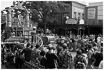 Parade float with Disney characters, Walt Disney World. Orlando, Florida, USA ( black and white)