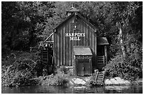 Harpers Mill, Magic Kingdom, Walt Disney World. Orlando, Florida, USA ( black and white)