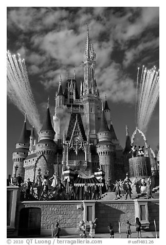 Daytime fireworks and stage show, Cindarella castle. Orlando, Florida, USA (black and white)