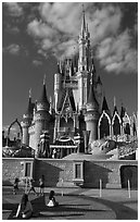 Girls in front of Cindarella castle, Walt Disney World. Orlando, Florida, USA ( black and white)