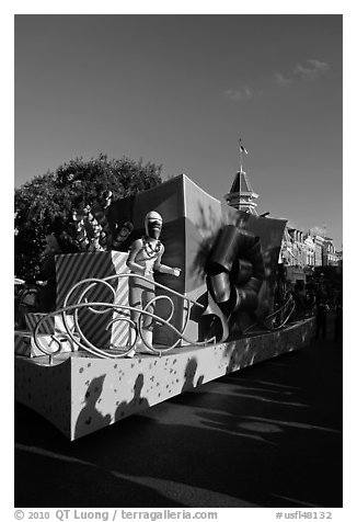Parade float on Main Street, Magic Kingdom, Walt Disney World. Orlando, Florida, USA (black and white)