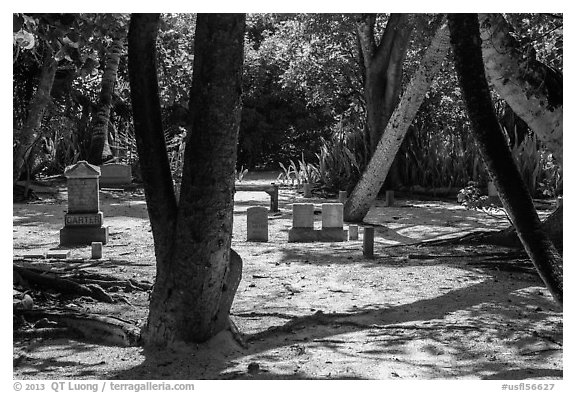 Cemetery, Chapel by the Sea, Captiva Island. Florida, USA (black and white)