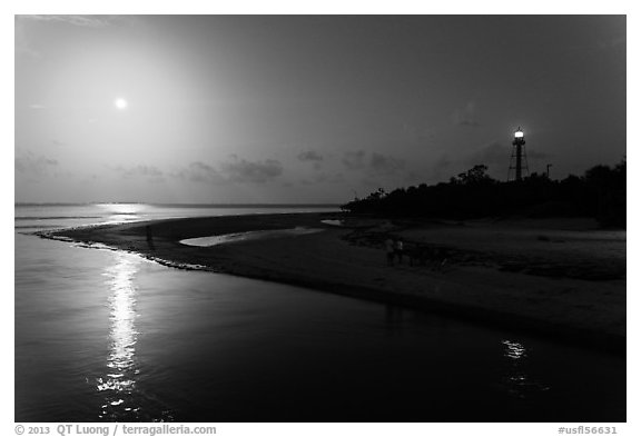 Lighthouse Point and full moon, Sanibel Island. Florida, USA (black and white)