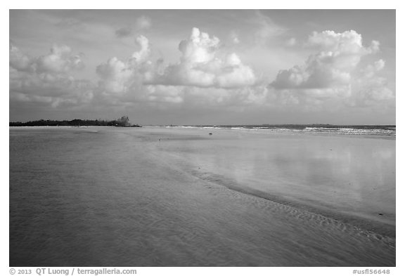 Beach and shallow flats, Fort De Soto beach. Florida, USA (black and white)