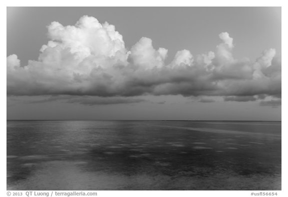 Thunderstorm clouds at dusk, Little Duck Key. The Keys, Florida, USA (black and white)