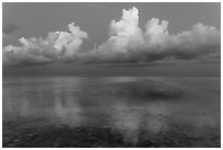 Clouds and Atlantic Ocean at dusk, Little Duck Key. The Keys, Florida, USA (black and white)