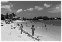 Families on Sombrero Beach, Marathon Key. The Keys, Florida, USA ( black and white)