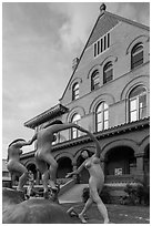 Modern sculpture in front of Custom House. Key West, Florida, USA ( black and white)