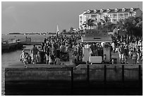 Crowds anticipating sunset in Mallory Square. Key West, Florida, USA ( black and white)