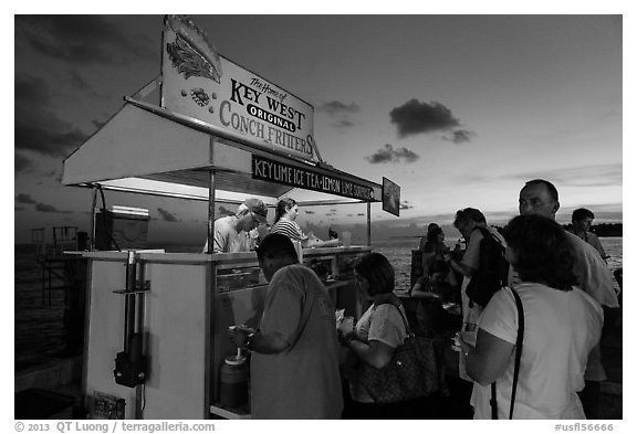 People buying food at stand on Mallory Square. Key West, Florida, USA