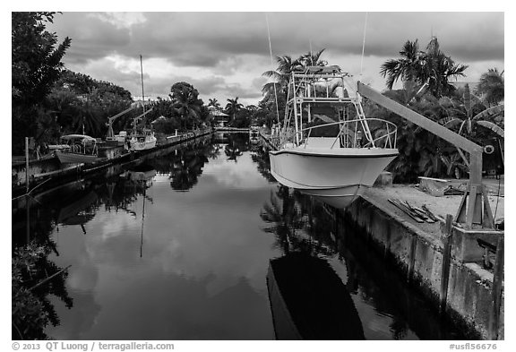 Yachts and canal, Big Pine Key. The Keys, Florida, USA (black and white)