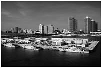 Coast guard station and Miami Beach. Florida, USA ( black and white)