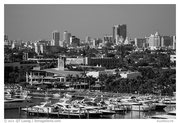 Marina and Miami Beach. Florida, USA (black and white)