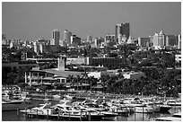 Marina and Miami Beach. Florida, USA ( black and white)
