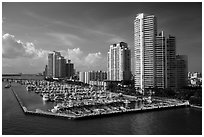 Miami Beach marina and high-rises. Florida, USA ( black and white)