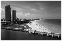 Maimi Beach pier and beach. Florida, USA ( black and white)