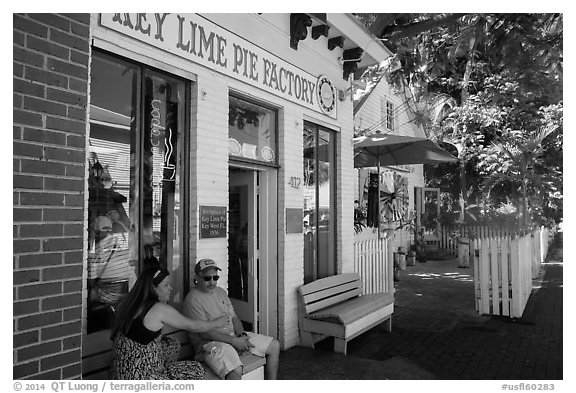 Key Line Pie Factory with customers. Key West, Florida, USA (black and white)