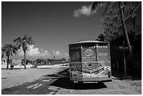 Truck with ad for Dry Tortugas tour. Key West, Florida, USA ( black and white)