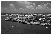 Mallory Square from above. Key West, Florida, USA ( black and white)