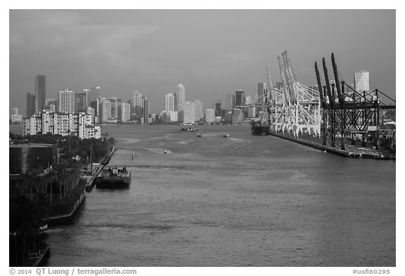 Miami port and skyline at sunrise. Florida, USA (black and white)