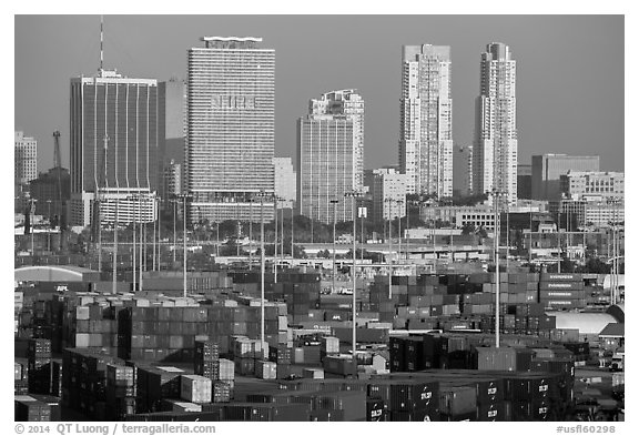 Shipping containers and skyline. Florida, USA (black and white)