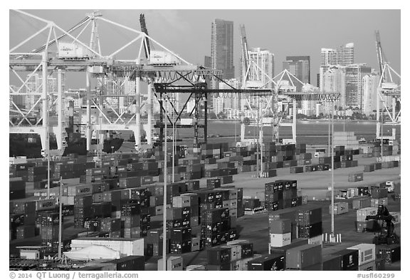 Shipping containers, cranes, and skyline. Florida, USA (black and white)