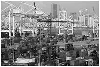 Shipping containers, cranes, and skyline. Florida, USA ( black and white)