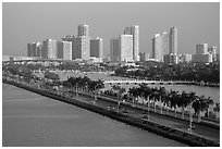 Causeway and skyline. Florida, USA ( black and white)