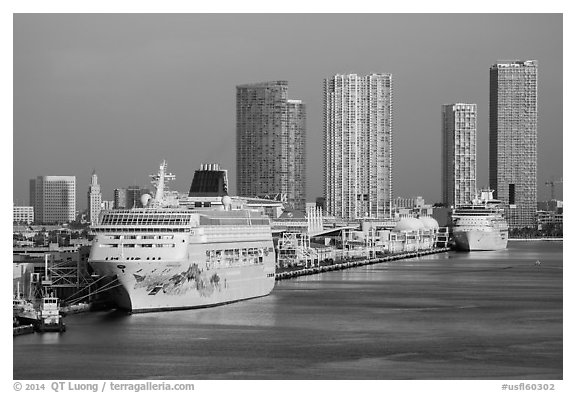 Cruise ship terminal and skyline, Port of Miami. Florida, USA (black and white)