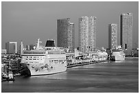Cruise ship terminal and skyline. Florida, USA ( black and white)